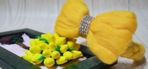 Декорирование ободка для волос шерстью для валяния