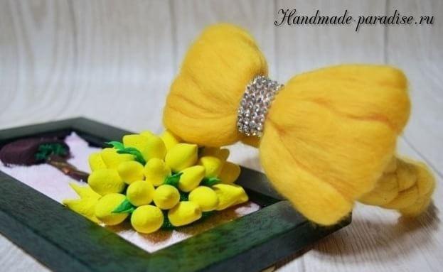 Декорирование ободка для волос шерстью для валяния (13)