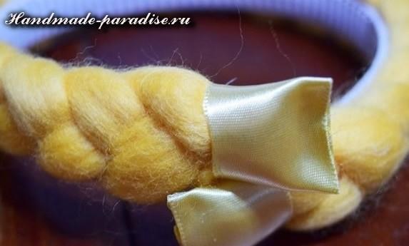 Декорирование ободка для волос пряжей для валяния (7)