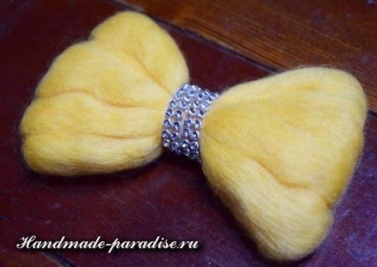 Декорирование ободка для волос шерстью для валяния (8)