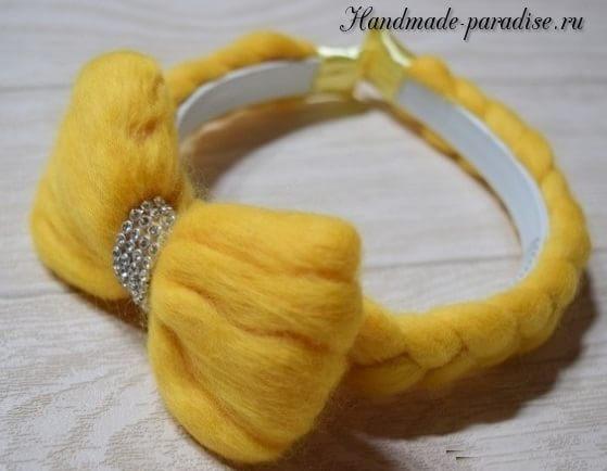 Декорирование ободка для волос пряжей для валяния (9)