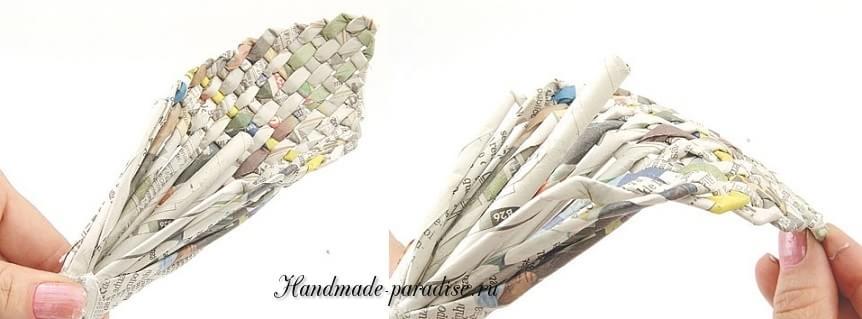 Каллы. Букет цветов из газетных трубочек (10)