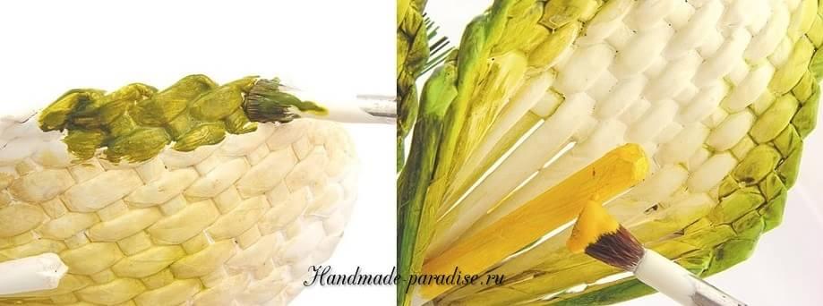 Каллы. Букет цветов из газетных трубочек (12)