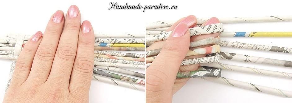 Каллы. Букет цветов из газетных трубочек (4)