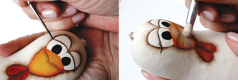 Курочки из тыквы. Роспись горлянки (6)