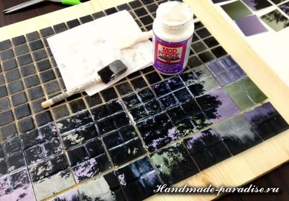 Панно из мозаики и распечатки на принтере (4)