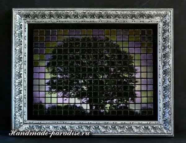 Панно из мозаики и распечатки на принтере (7)
