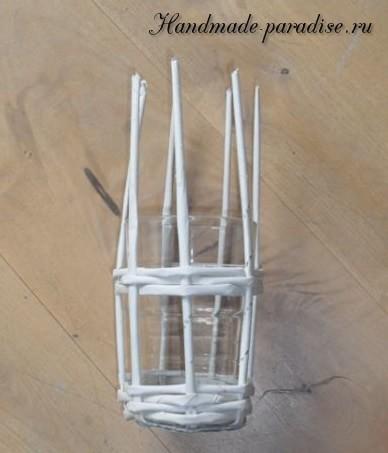Пасхальная клетка из газетных трубочек (7)
