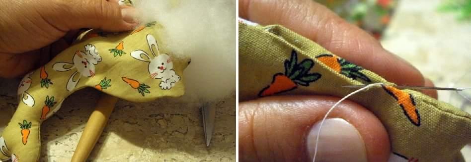 Пасхальный венок с текстильными кроликами (6)