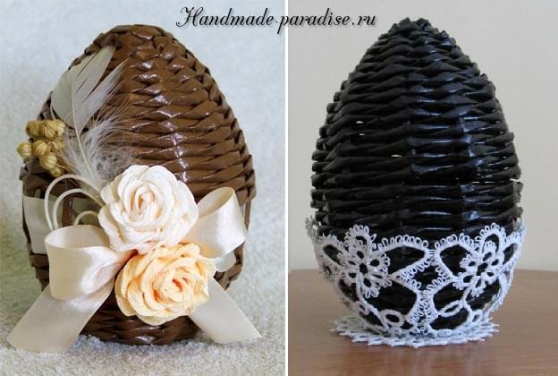 Плетение пасхальных яиц из газет (2)