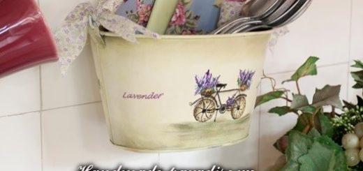 Роспись ведерка с лавандой и ретро велосипедом