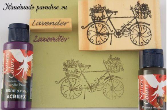 Роспись ведерка с лавандой и ретро велосипедом (5)