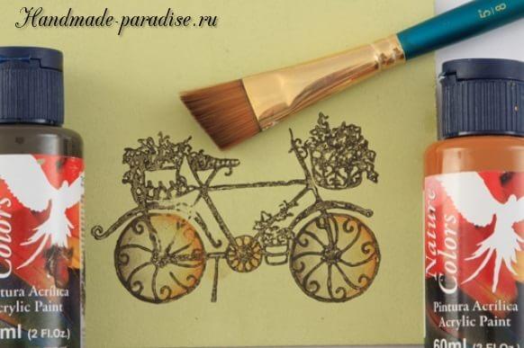 Роспись ведерка с лавандой и ретро велосипедом (6)