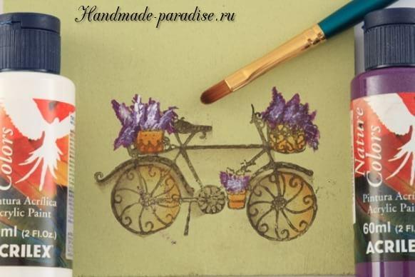 Роспись ведерка с лавандой и ретро велосипедом (7)
