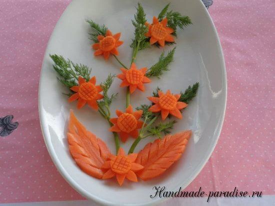 Цветы из морковки для праздничной сервировки стола (14)