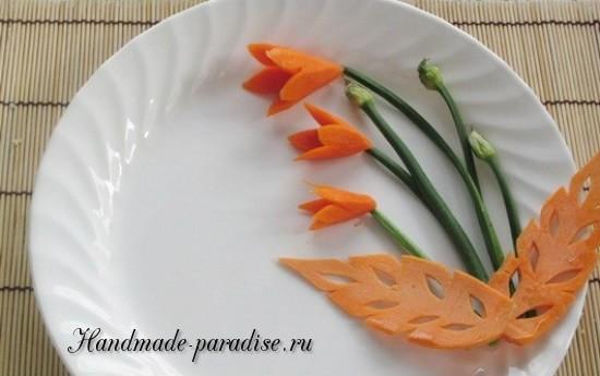 Цветы из морковки для праздничной сервировки стола (16)