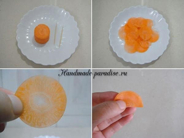 Роза из морковки для праздничной сервировки стола (17)