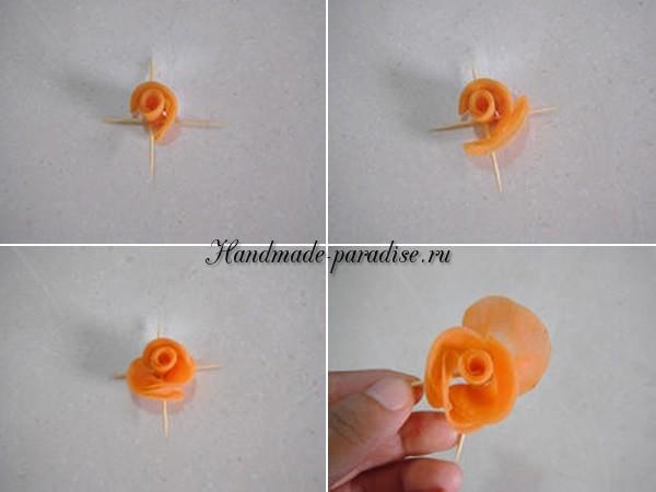 Роза из морковки для праздничной сервировки стола (18)