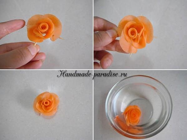Роза из морковки для праздничной сервировки стола (19)