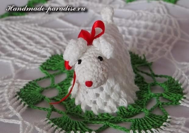 Салфетка крючком с пасхальной овечкой (9)