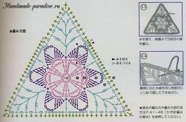 Треугольный мотив крючком. Схема (3)