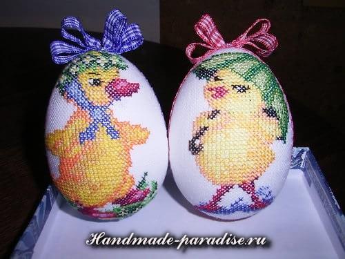 Веселые пасхальные яйца с вышивкой (12)