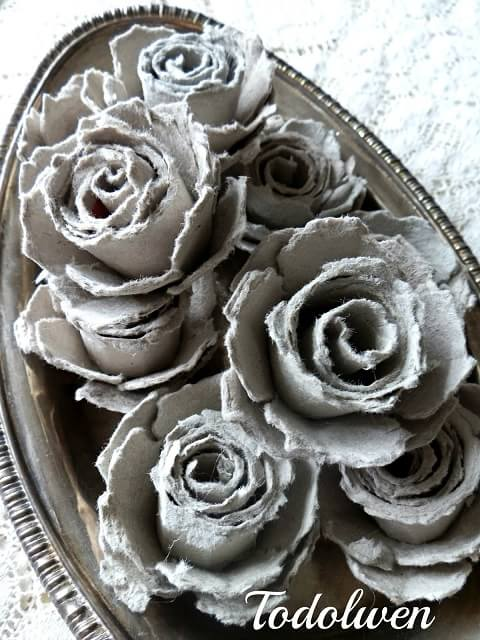 Винтажные розы из яичных лотков (2)