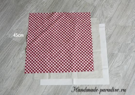 Корзинка из ткани в технике оригами