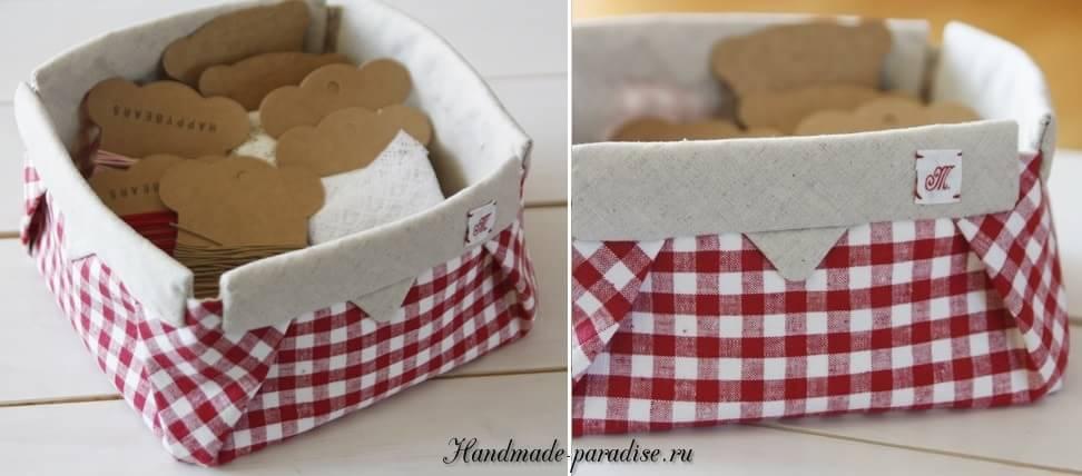 Корзинка из ткани в технике оригами (13)