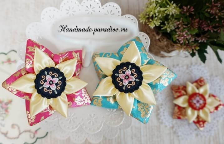 Цветы из лент в украшении заколки для волос (10)