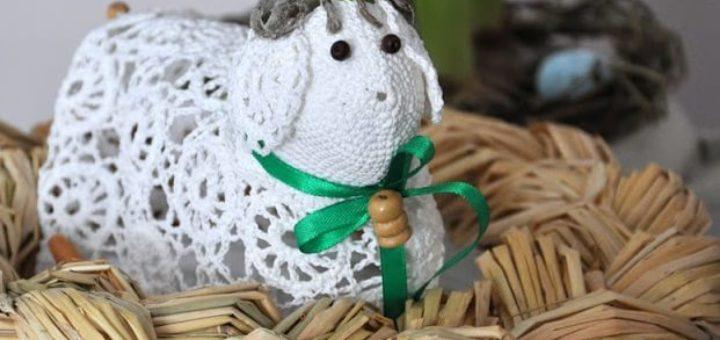Ажурные пасхальные овечки крючком