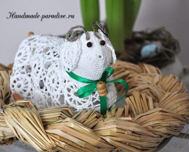 Ажурные пасхальные овечки крючком (12)