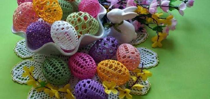 Как крахмалить вязаные пасхальные яйца