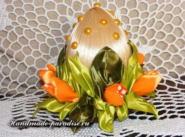 Пасхальные яйца с тюльпанами из шелка (12)