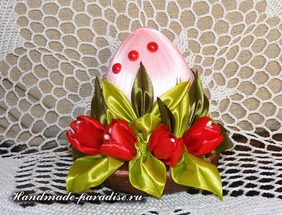 Пасхальные яйца с тюльпанами из шелка (13)