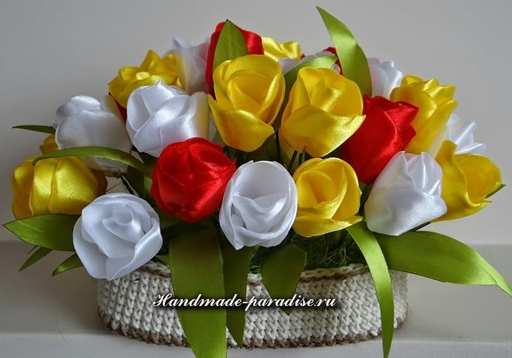 Пасхальные яйца с тюльпанами из шелка (7)