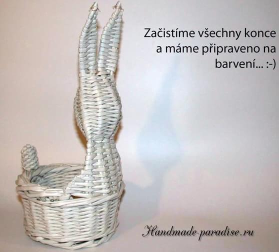 Пасхальный заяц - корзинка из газет (20)