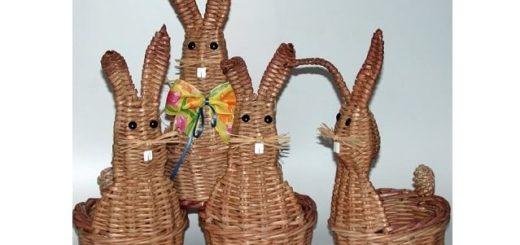 Пасхальный заяц - корзинка из газет