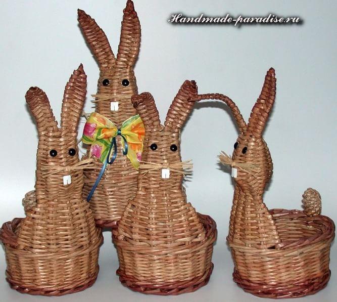 Пасхальный заяц - корзинка из газет (3)