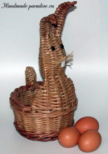 Пасхальный заяц - корзинка из газет (4)