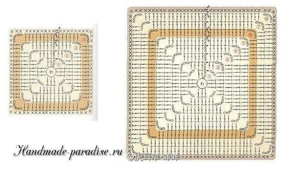 Плед крючком бабушкиными квадратами (5)