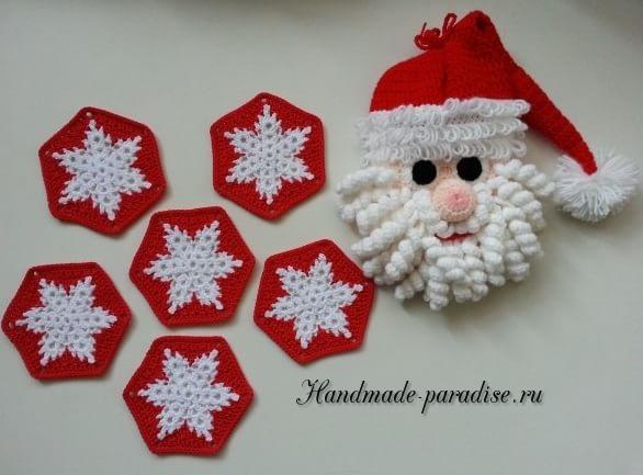 Вязание крючком пледа со снежинками (1)