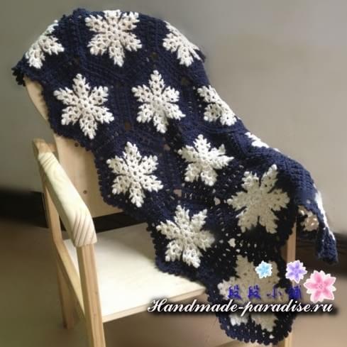 Вязание крючком пледа со снежинками (2)
