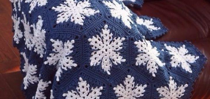Плед со снежинками крючком