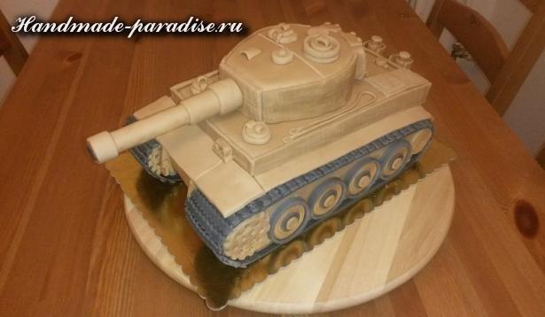 Танк - 3D торт из марципана (11)