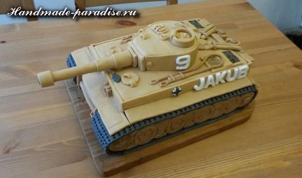 Танк - 3D торт из марципана (13)