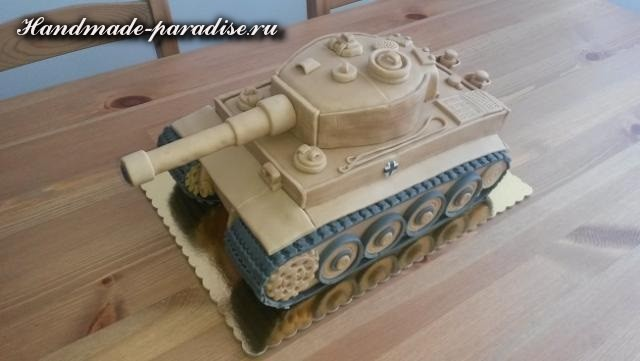 Танк - 3D торт из марципана (14)