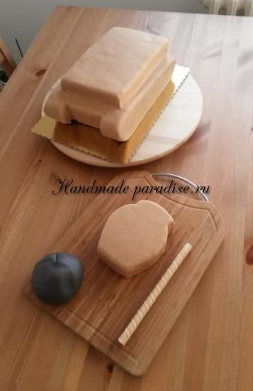 Танк - 3D торт из марципана (7)