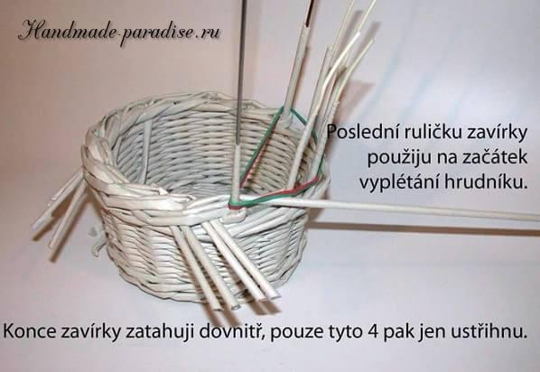 плетение из газет. корзинка пасхальный заяц (5)