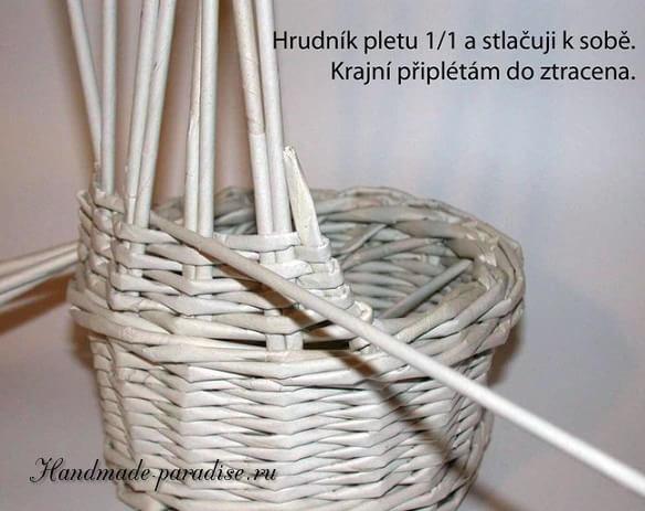 плетение из газет. корзинка пасхальный заяц (7)